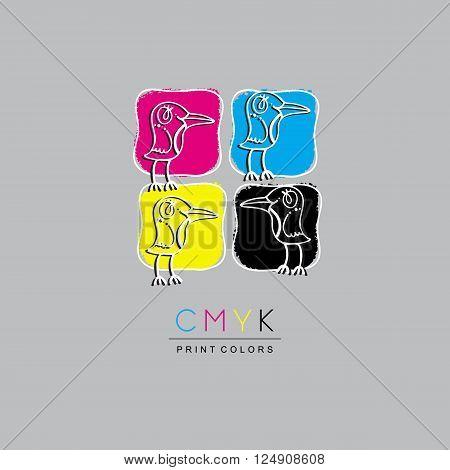 Logo CMYK color model design concept on white background. Four multi-colored birds. Printing technology emblem.