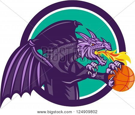 Illustration of a purple dragon breathing fire clutching holding an orange basketball viewed from the side set inside circle on isolated background done in retro style.