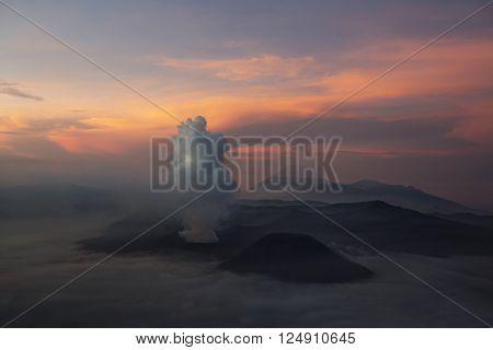 Mt. Bromo volcano during sunrise in Bromo Tengger Semeru National Park East Java Indonesia.
