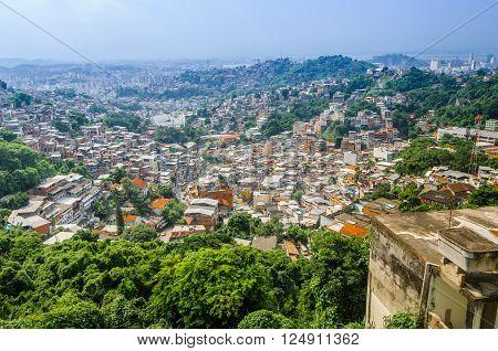 Buildings of Favela Santa Marta mountain behind in Rio de Janeiro Brazil.