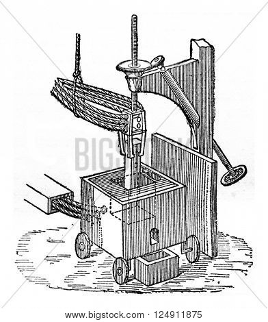Electric oven the preparation of calcium carbide, vintage engraved illustration. Industrial encyclopedia E.-O. Lami - 1875.