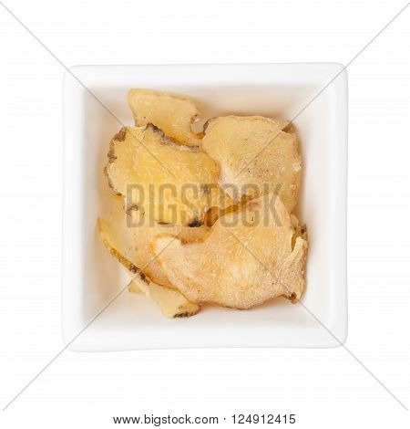 Traditional Chinese Medicine - Yuzhu in a square bowl isolated on white background