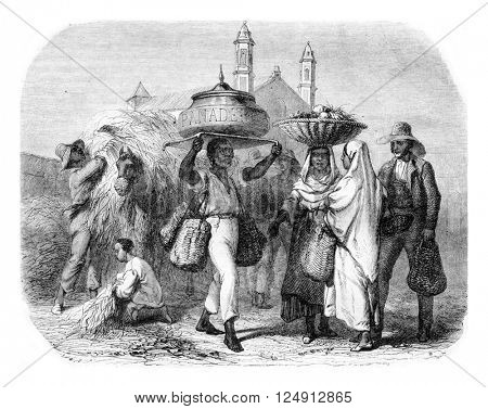 The Baker, Cuba, vintage engraved illustration. Magasin Pittoresque 1857.