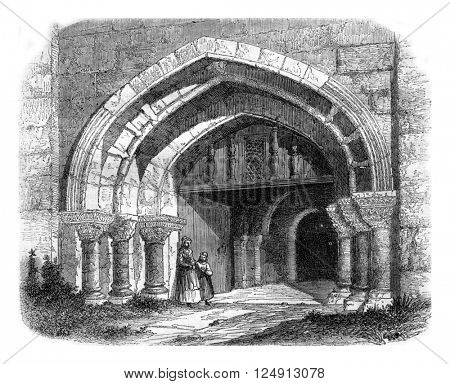 Portal of Saint-Cyr La Rosiere, in the Orne department, vintage engraved illustration. Magasin Pittoresque 1857.