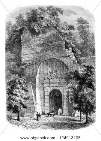 Porte Neuve, in Salzburg, vintage engraved illustration. Magasin Pittoresque 1857.