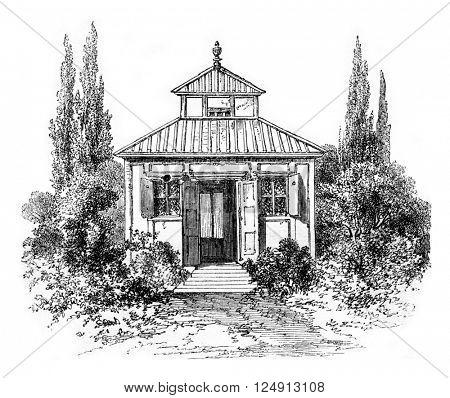 Home or lived Swedenborg had visions, vintage engraved illustration. Magasin Pittoresque 1857.