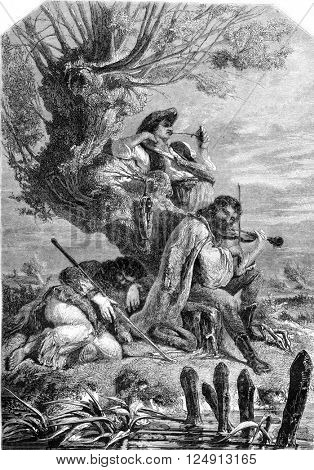 The Three Gypsies, vintage engraved illustration. Magasin Pittoresque 1857.