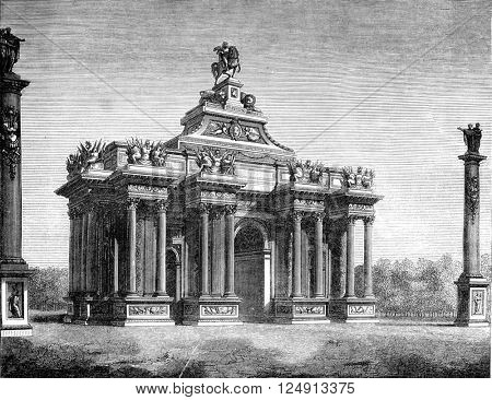 Reign of Louis XIV, Triumphal arch throne said, by Claude Perrault, vintage engraved illustration. Magasin Pittoresque 1847.