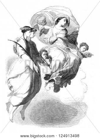 Fragment of the Apparition of St. Scholastica in St. Benedict, by Eustache Le Sueur, vintage engraved illustration. Magasin Pittoresque 1847.