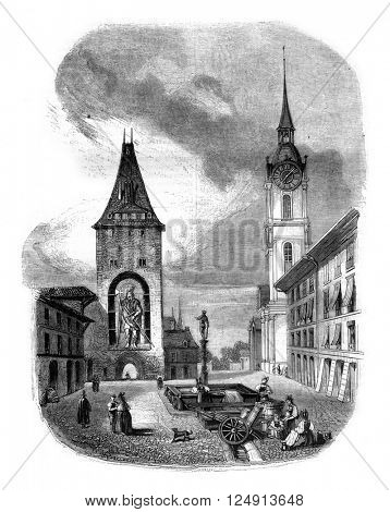 The Tower of Goliath in Bern, vintage engraved illustration. Magasin Pittoresque 1847.