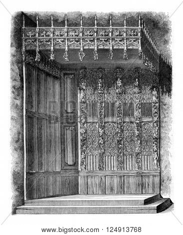 The Argentelles restored justice bed, vintage engraved illustration. Magasin Pittoresque 1847.