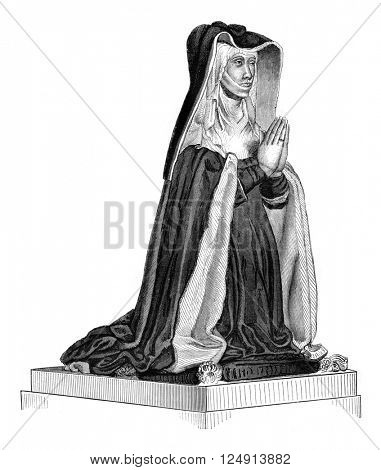 Fifteenth century, Michelle de Vitry, Jouvenel Orsini widow, vintage engraved illustration. Magasin Pittoresque 1847.