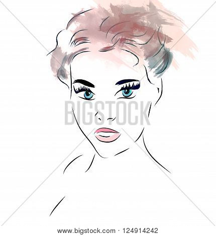 Woman Face. Illustration of a Girl With Blue Eyes