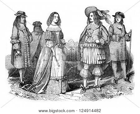 King Charles II and Queen, vintage engraved illustration. Colorful History of England, 1837.