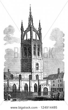 View of the Church of Saint-Nicolas, in Newcastle, vintage engraved illustration. Colorful History of England, 1837.
