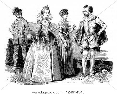 Costumes Elizabethan (1565-1569), vintage engraved illustration. Colorful History of England, 1837.