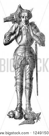 Effigy of Warwick Earl placed on his tomb, vintage engraved illustration. Colorful History of England, 1837.