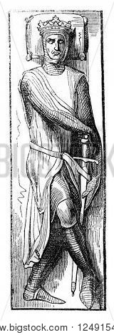 Effigy of William, Earl of Salisbury, Place on his tomb, vintage engraved illustration. Colorful History of England, 1837.