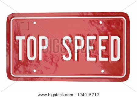 Top Speed Car Vehicle Race Driving Win Competition License Plate
