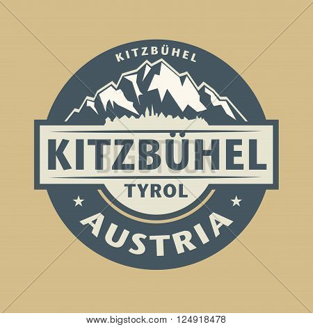Abstract stamp with the name of town Kitzbuhel in Austria, vector illustration