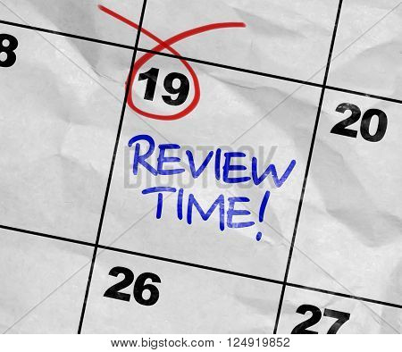 Concept image of a Calendar with the text: Review Time poster
