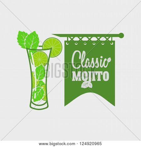 Vector Logo Or Label Template With Cocktail Mojito With Mint Leaves And Straws. Can Be Used For Desi