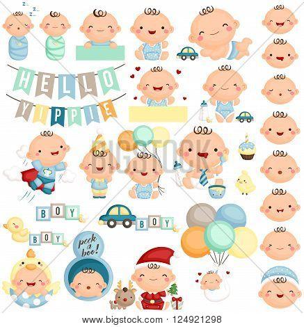 A vector set of cute baby boy milestone action