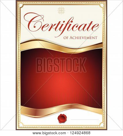 Red And Gold Certificate Template.eps
