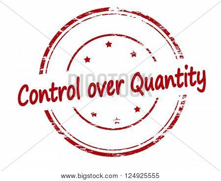 Rubber stamp with text control over quantity inside vector illustration