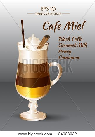 Vector illustration. Coffee drink. Coffee Miel in transparent drinking glass cup. Food and drink collection