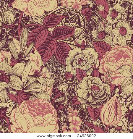 Summer seamless floral pattern. Vintage flowers Art. Claret and dark pink flowers on a gold background. Roses lilies daffodils tulips and delphinium.