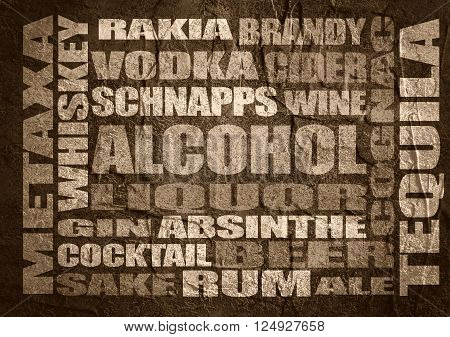 Different drinks list. Drink alcohol beverage. Relative words cloud. Concrete textured