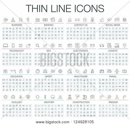 Vector illustration of thin line icons business, banking, contact us, social media, technology, logistic, education, sport, medicine, travel and weather. Flat symbols set
