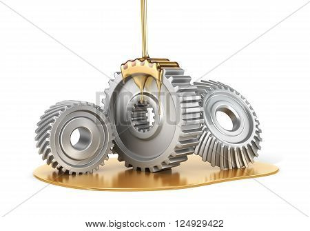 Oiling Gears isolated on a white background. 3d illustration