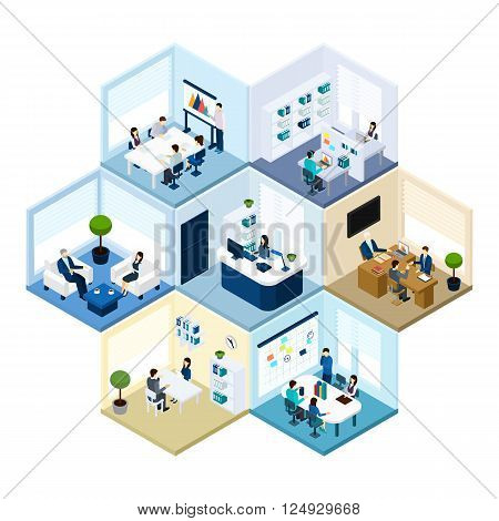 Business offices workspace interior organization tessellated honeycomb hexagonal isometric composition pattern abstract vector isolated illustration poster