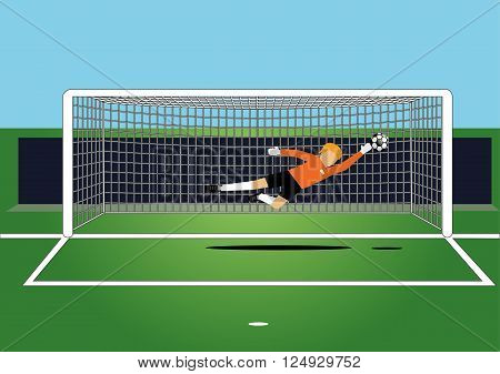 vector  of soccer goal keeper catching a ball on the field