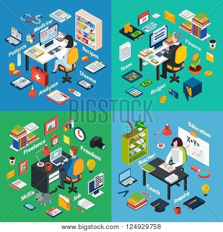 Professional workplaces of freelance photographer teacher and financial  advisor 4 isometric icons square abstract vector isolated illustration