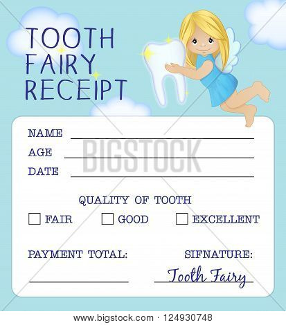 Cute tooth fairy receipt certificate fun document design to reward children who loose their baby teeth