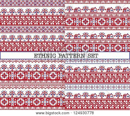 A set of ethnic traditional slav embroidery seamless patterns in red blue and white colours with floral borders trees and houses.