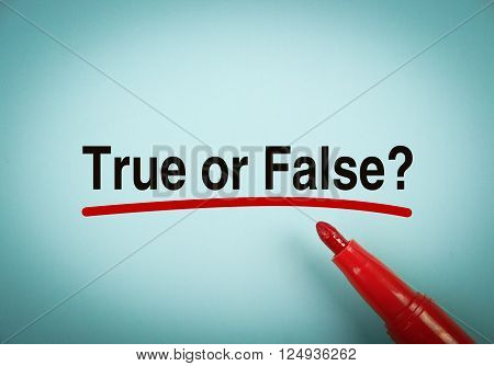 True or false with red underline and red mark aside.