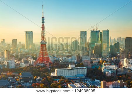 Tokyo Tower with Tokyo Cityscape in the Evening