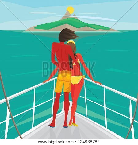 Young couple in love standing on the front of the boat deck and looks at an island in the distance. View from the back - Cruise or sea voyage concept