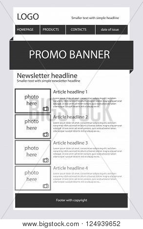 Newsletter black and white template with business style poster