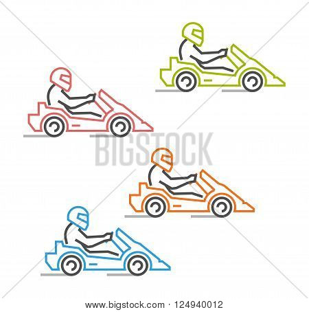 Modern outline go kart symbol. Multicolored line karting logo. Vector figures art racer. Vector line kart. Vector karting icons.