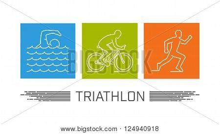 Vector set of silhouettes of athlete. Outline figure triathlete. Stylish logo for triathlon on white background. Modern vector symbol for triathlon.