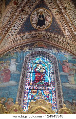 Florence Italy-June 2 2015. Interior detail of the Basilica of Santa Maria Novella situated just across from the main railway station which shares its name. Chronologically it is the first great basilica in Florence and is the city's principal Dominican c