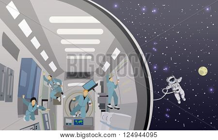 Space mission concept vector illustration. Astronauts in space station and outer space. cosmonauts flying in no gravity space. poster