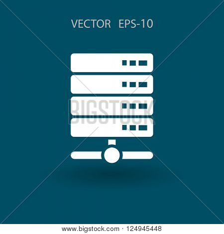Flat Computer Server icon, vector illustration