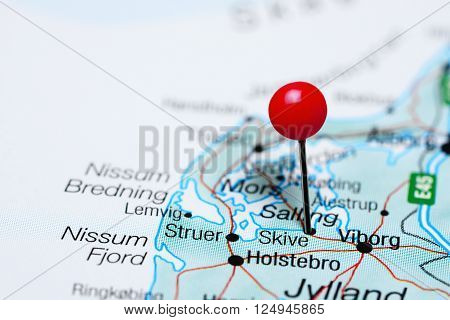 Skive pinned on a map of Denmark