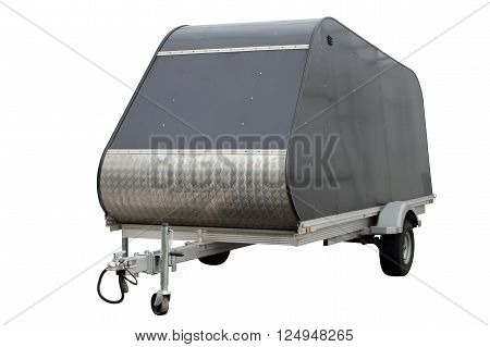 Metal car trailer isolated on a white background.